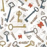 Stylish seamless pattern with vintage keys Royalty Free Stock Photo