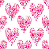Stylish seamless pattern with watercolor hearts. Stock Image