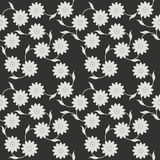 Stylish seamless pattern with white flower on black background Royalty Free Stock Photo