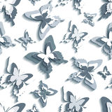 Stylish seamless pattern with white - grey butterflies Royalty Free Stock Photos