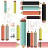 Stylish Seamless Pattern With Colorful Pencils And Lines Stock Photos