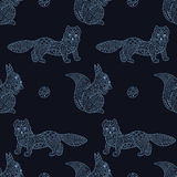 Stylish seamless texture with Baikal squirrel and mustelidae Royalty Free Stock Photo