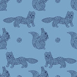 Stylish seamless texture with Baikal squirrel and mustelidae Stock Images