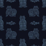 Stylish seamless texture with doodled Baikal bear and omul Royalty Free Stock Image