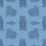 Stylish seamless texture with doodled Baikal bear and omul Stock Images