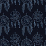 Stylish seamless texture with doodled Baikal dream catcher Stock Photography