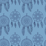 Stylish seamless texture with doodled Baikal dream catcher Royalty Free Stock Photo