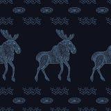 Stylish seamless texture with doodled Baikal elk Stock Photography