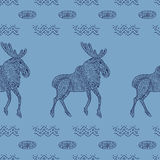 Stylish seamless texture with doodled Baikal elk Stock Photography
