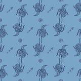 Stylish seamless texture with doodled Baikal iris Royalty Free Stock Images