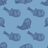 Stylish seamless texture with doodled Baikal seals Stock Images