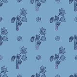 Stylish seamless texture with doodled Baikal snowdrop in blue co Stock Photography