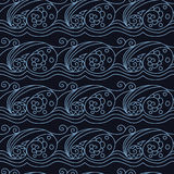 Stylish seamless texture with doodled Baikal storm wave Royalty Free Stock Images