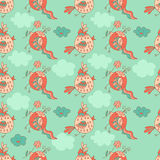 Stylish seamless texture with doodled cartoon birds Royalty Free Stock Image