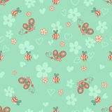 Stylish seamless texture with doodled cartoon  butterfly and bee Stock Image
