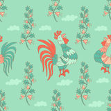 Stylish seamless texture with doodled cartoon cockerel Stock Photos