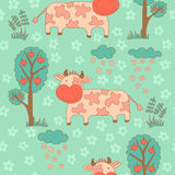 Stylish seamless texture with doodled cartoon cow Royalty Free Stock Photos