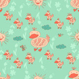 Stylish seamless texture with doodled cartoon duck Stock Image