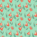 Stylish seamless texture with doodled cartoon flowers Stock Image