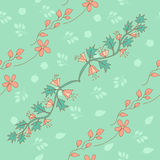 Stylish seamless texture with doodled cartoon flowers Stock Photos