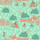 Stylish seamless texture with doodled cartoon fox Stock Images