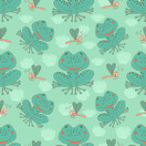 Stylish seamless texture with doodled cartoon frog Royalty Free Stock Photo
