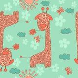 Stylish seamless texture with doodled cartoon giraffein Royalty Free Stock Photos
