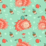 Stylish seamless texture with doodled cartoon hedgehog Royalty Free Stock Images