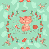 Stylish seamless texture with doodled cartoon kitten and mousy Stock Image