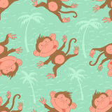 Stylish seamless texture with doodled cartoon monkey Royalty Free Stock Images