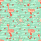 Stylish seamless texture with doodled cartoon ostrich Royalty Free Stock Photo