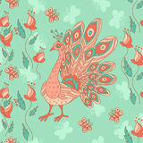 Stylish seamless texture with doodled cartoon peacock Royalty Free Stock Images