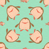 Stylish seamless texture with doodled cartoon penguin Royalty Free Stock Photography