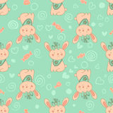 Stylish seamless texture with doodled cartoon rabbits Royalty Free Stock Photography