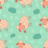 Stylish seamless texture with doodled cartoon sheep Stock Photos