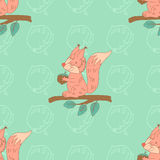 Stylish seamless texture with doodled cartoon  squirrel Stock Photo