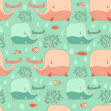 Stylish seamless texture with doodled cartoon whale. In pink and blue colors in vector Stock Images
