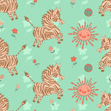 Stylish seamless texture with doodled cartoon zebra Royalty Free Stock Photography