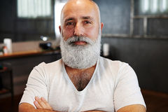 Stylish senior man with beard and moustache Stock Photography