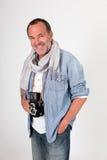 Stylish senior photographer with camera isolated Royalty Free Stock Photo