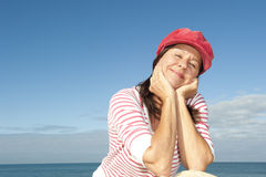 Stylish senior woman happy ocean Stock Photography