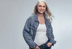 Stylish senior woman stock images