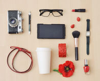 Stylish set of accessories and stuff for urban woman Royalty Free Stock Images