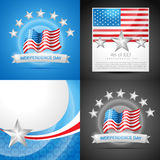 Stylish set of american independence day background illustration. Vector set of american independence day background illustration with american flags and banner royalty free illustration