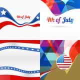 Stylish set of american independence day background Stock Photos