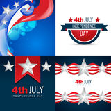 Stylish set of american independence day background Stock Photography