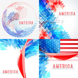 Stylish set of american independence day background. Vector  set of american independence day background illustration with pattern Royalty Free Stock Image