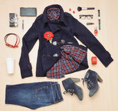 Stylish set of clothing and accessories for the fall Royalty Free Stock Image