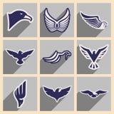 Stylish set of eagles Stock Photo
