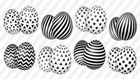 Stylish set of Easter eggs with a geometric pattern vector illustration